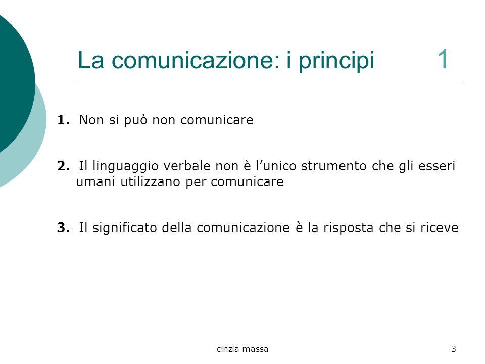 cinzia massa3 La comunicazione: i principi 1 1. Non si può non comunicare 2. Il linguaggio verbale non è lunico strumento che gli esseri umani utilizz