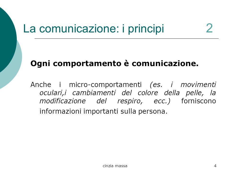 cinzia massa4 La comunicazione: i principi 2 Ogni comportamento è comunicazione. Anche i micro-comportamenti (es. i movimenti oculari,i cambiamenti de