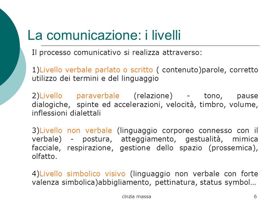 cinzia massa6 La comunicazione: i livelli Il processo comunicativo si realizza attraverso: 1)Livello verbale parlato o scritto ( contenuto)parole, cor
