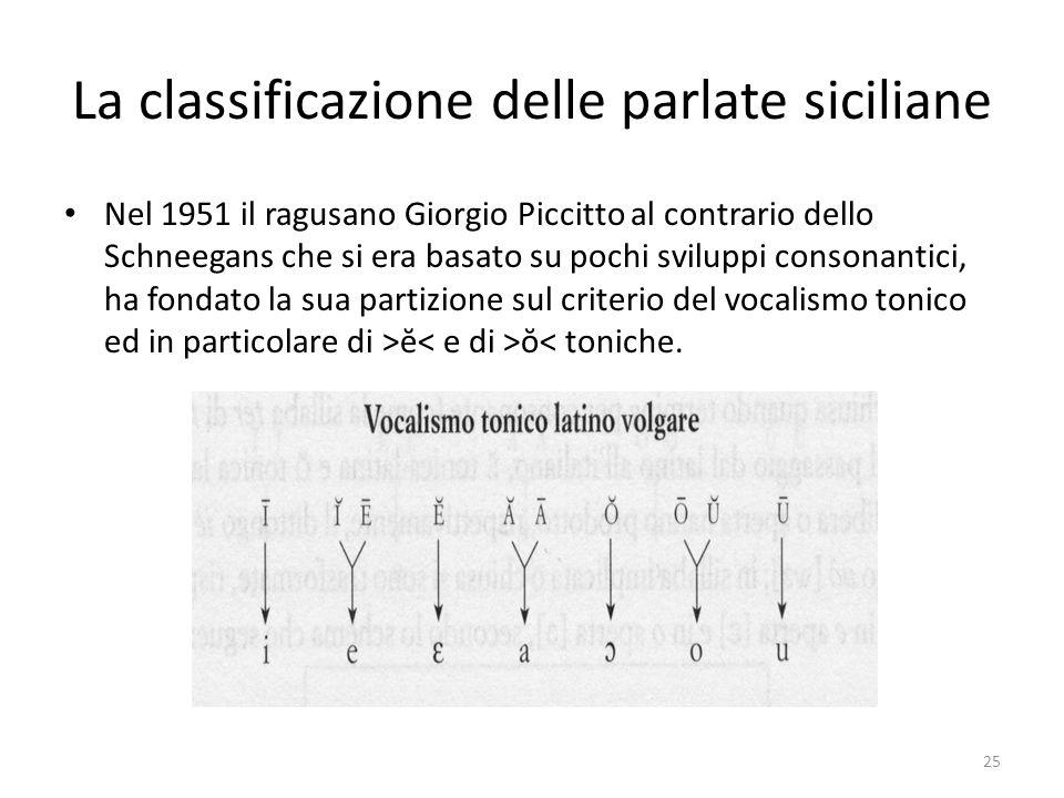 La classificazione delle parlate siciliane Nel 1951 il ragusano Giorgio Piccitto al contrario dello Schneegans che si era basato su pochi sviluppi con