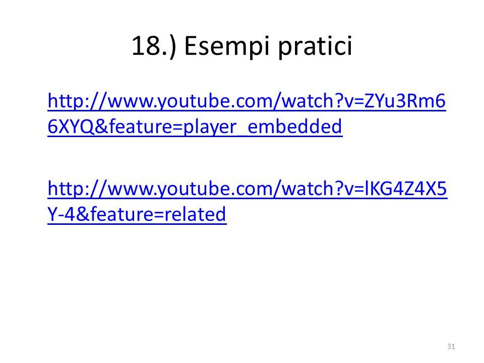 18.) Esempi pratici http://www.youtube.com/watch?v=ZYu3Rm6 6XYQ&feature=player_embedded http://www.youtube.com/watch?v=lKG4Z4X5 Y-4&feature=related 31