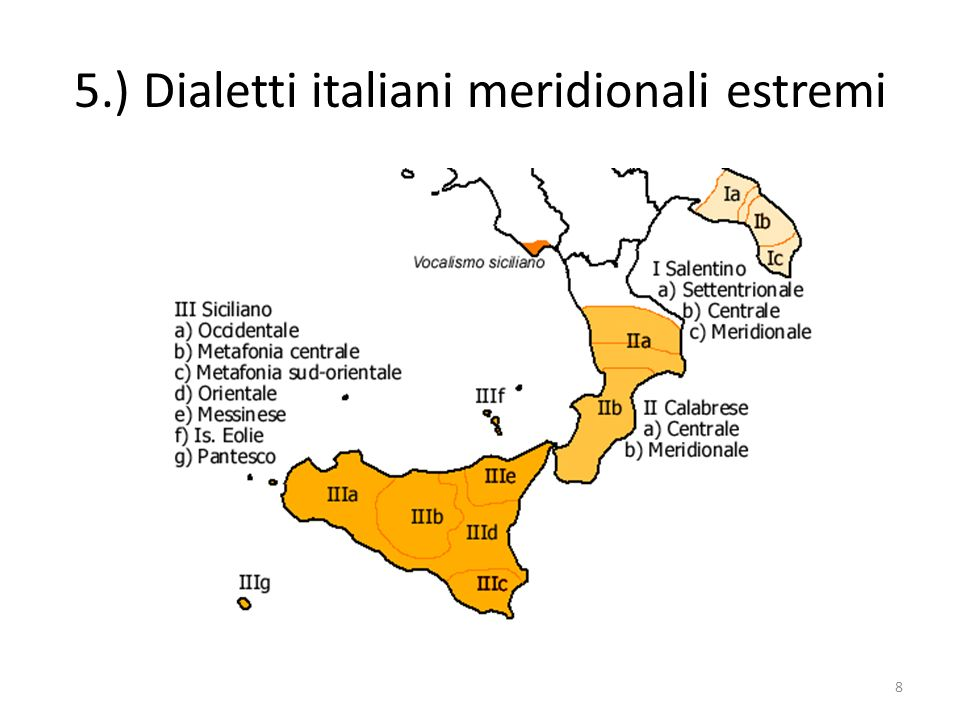La classificazione delle parlate siciliane Altri esempi metafonetici potranno essere: bbièddu, bbièddi, ma bbedda lièntu, liènti, ma lenta nuòvu, nuòvi, ma nova 29