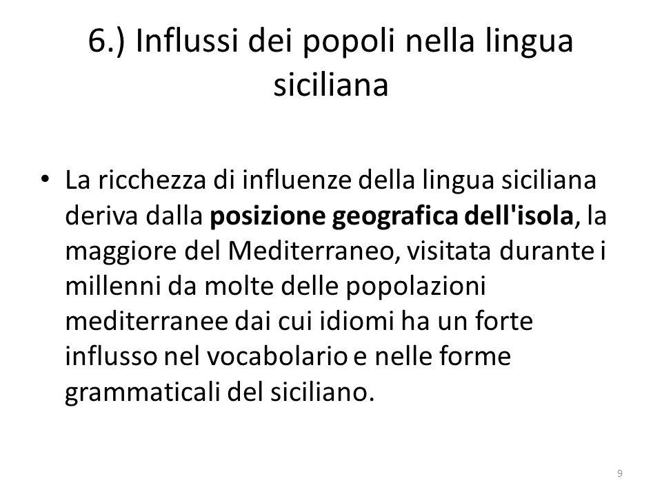6.) Influssi dei popoli nella lingua siciliana La ricchezza di influenze della lingua siciliana deriva dalla posizione geografica dell'isola, la maggi