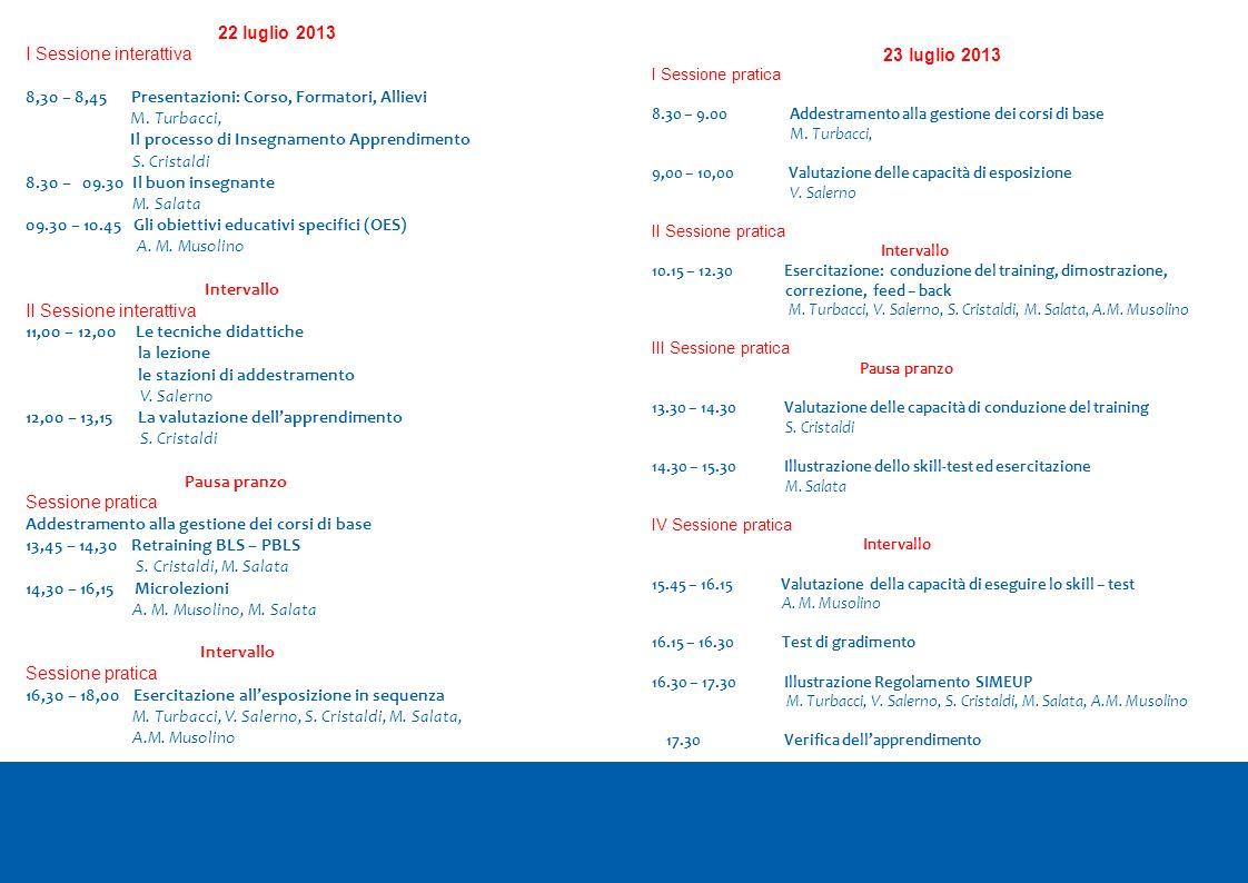 22 luglio 2013 I Sessione interattiva 8,30 – 8,45 Presentazioni: Corso, Formatori, Allievi M. Turbacci, Il processo di Insegnamento Apprendimento S. C