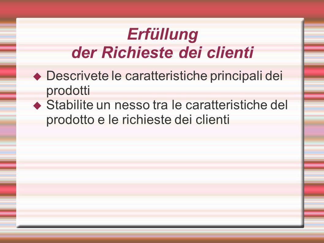Erfüllung der Richieste dei clienti Descrivete le caratteristiche principali dei prodotti Stabilite un nesso tra le caratteristiche del prodotto e le richieste dei clienti