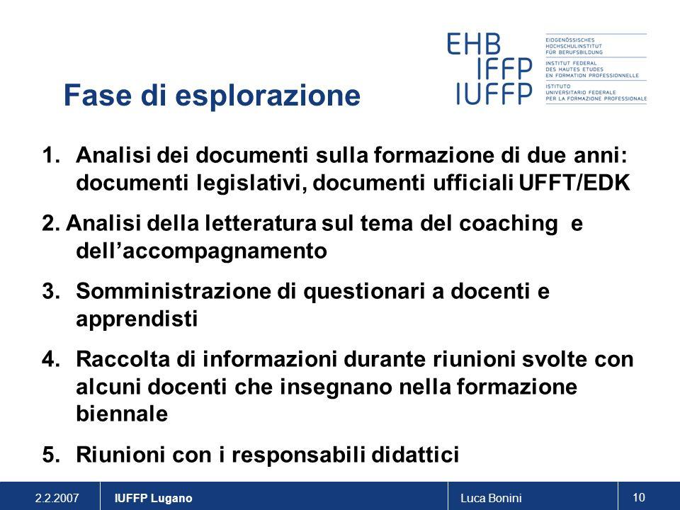 2.2.2007Luca Bonini 10 IUFFP Lugano 1.Analisi dei documenti sulla formazione di due anni: documenti legislativi, documenti ufficiali UFFT/EDK 2. Anali