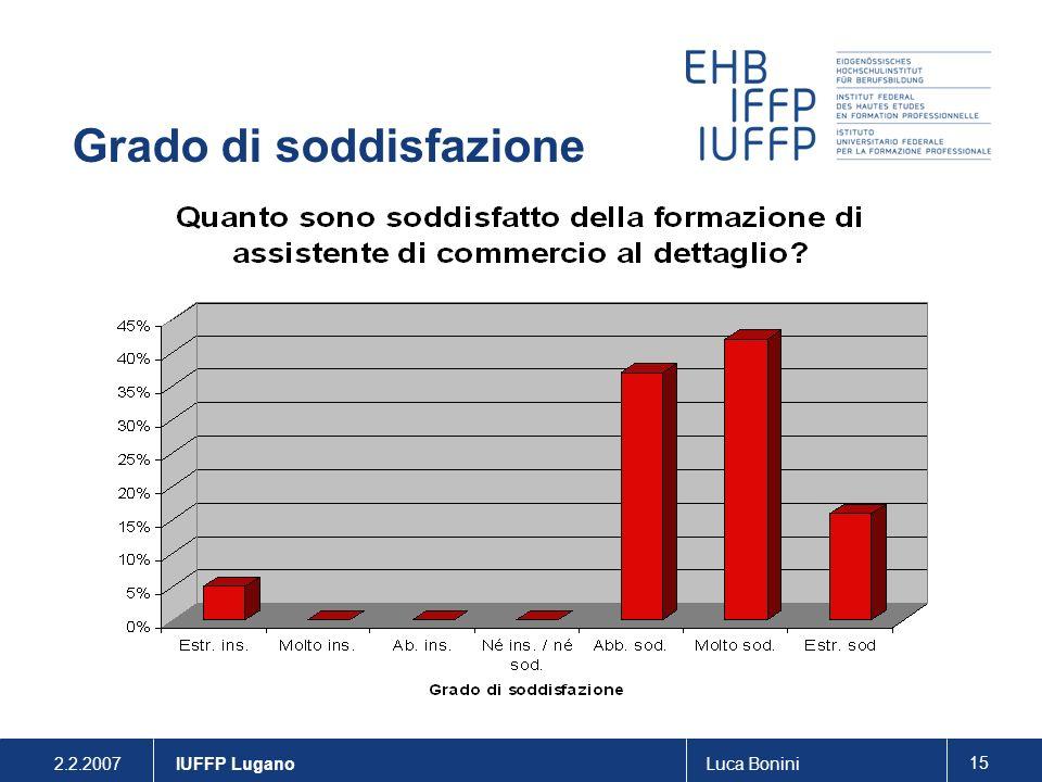 2.2.2007Luca Bonini 15 IUFFP Lugano Grado di soddisfazione