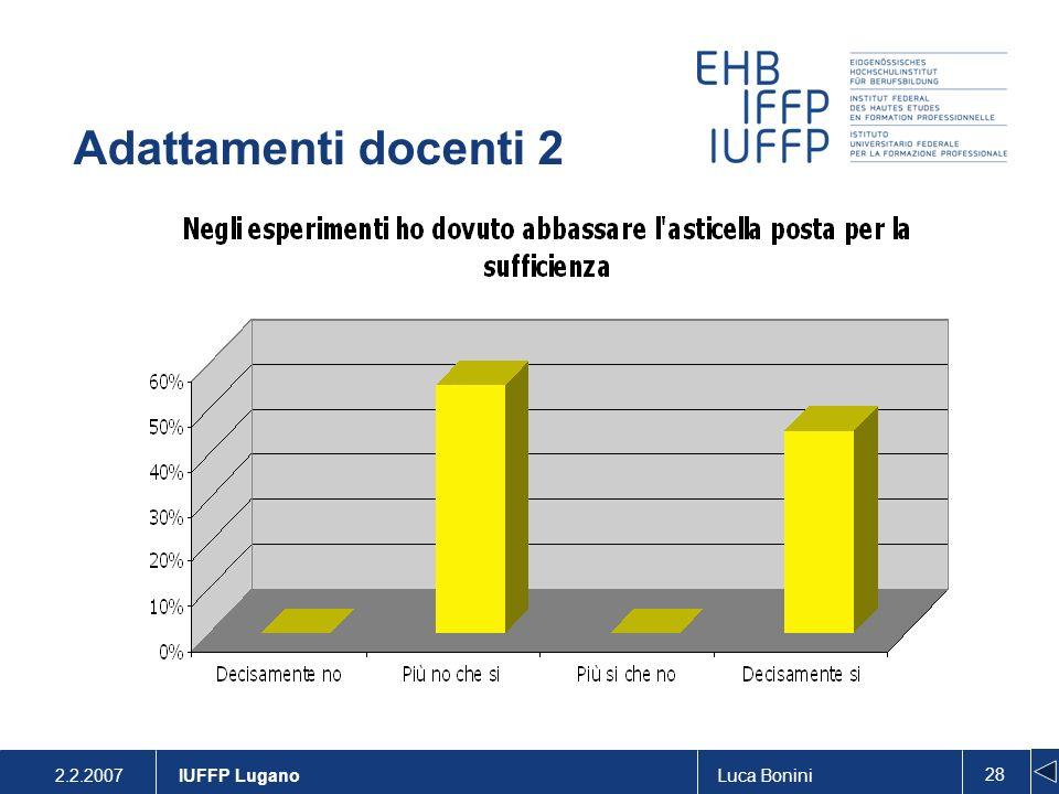 2.2.2007Luca Bonini 28 IUFFP Lugano Adattamenti docenti 2