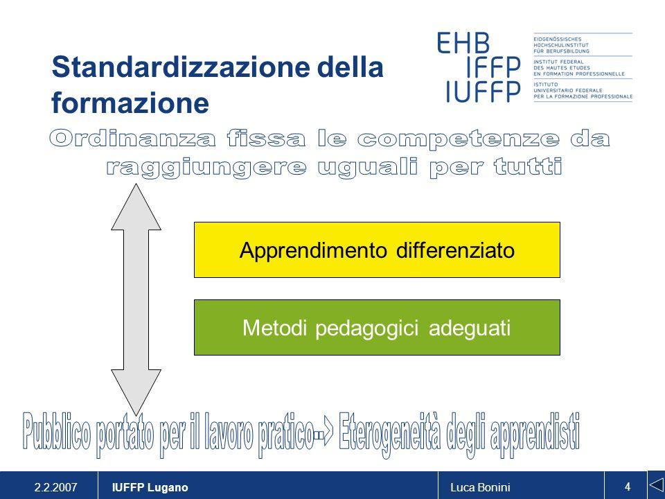 2.2.2007Luca Bonini 5 IUFFP Lugano Il sostegno individuale speciale Il sostegno individuale speciale è un offerta di rinforzo mediante la quale una persona competente coadiuva il processo evolutivo della persona in formazione che ha difficoltà di apprendimento.