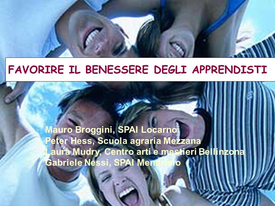 1 FAVORIRE IL BENESSERE DEGLI APPRENDISTI Mauro Broggini, SPAI Locarno Peter Hess, Scuola agraria Mezzana Laura Mudry, Centro arti e mestieri Bellinzo