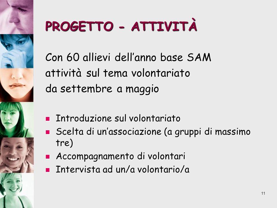 11 PROGETTO - ATTIVITÀ Con 60 allievi dellanno base SAM attività sul tema volontariato da settembre a maggio Introduzione sul volontariato Introduzion