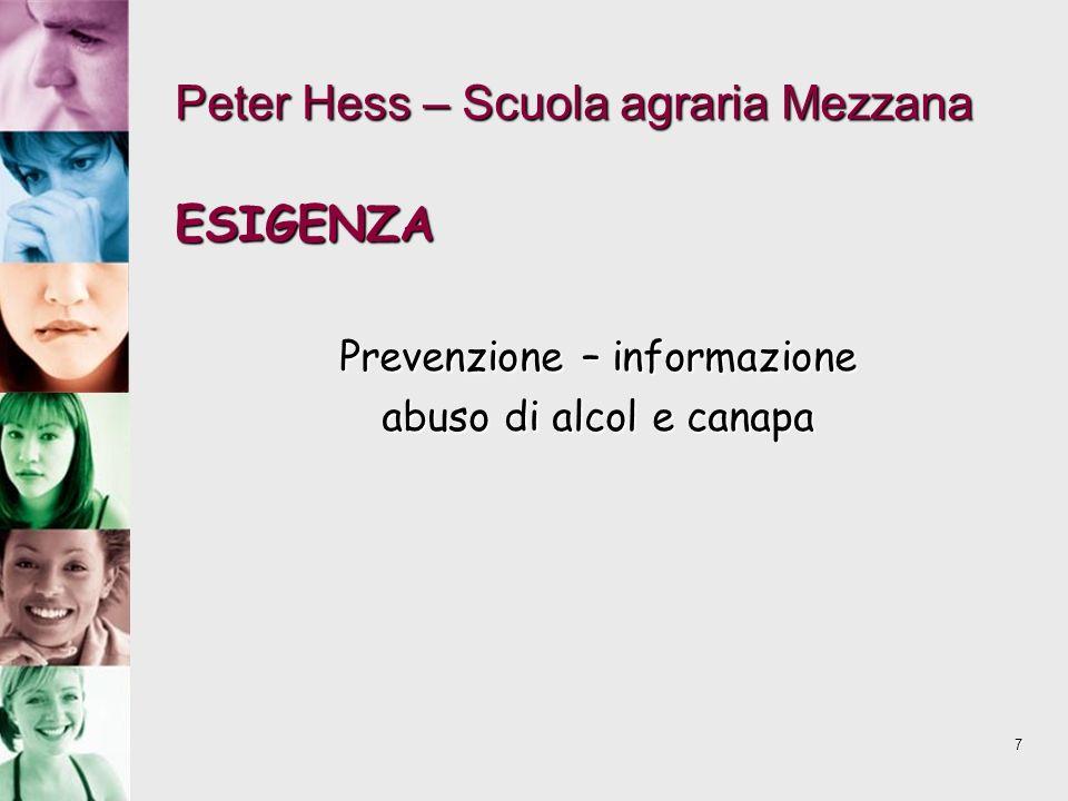 7 Peter Hess – Scuola agraria Mezzana ESIGENZA Prevenzione – informazione abuso di alcol e canapa