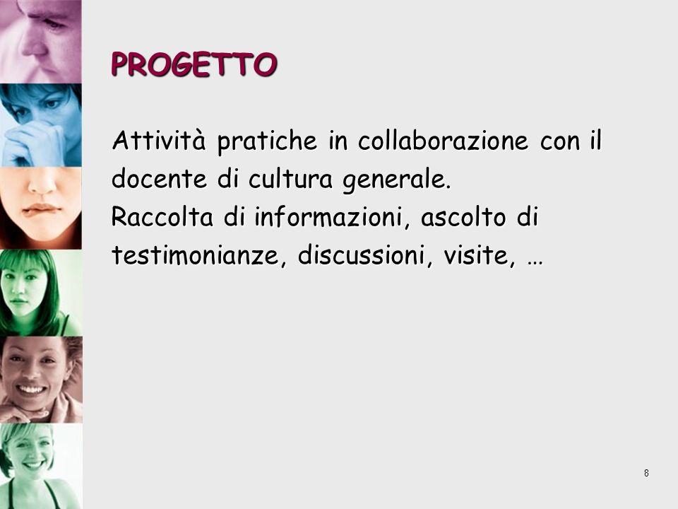 8 PROGETTO Attività pratiche in collaborazione con il docente di cultura generale. Raccolta di informazioni, ascolto di testimonianze, discussioni, vi
