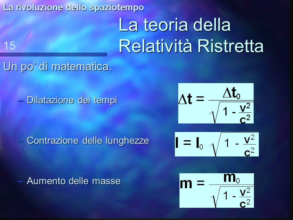 La teoria della Relatività Ristretta Gli effetti del moto sulla massa. 14 La rivoluzione dello spaziotempo UN OGGETTO IN MOVIMENTO AUMENTA LA PROPRIA