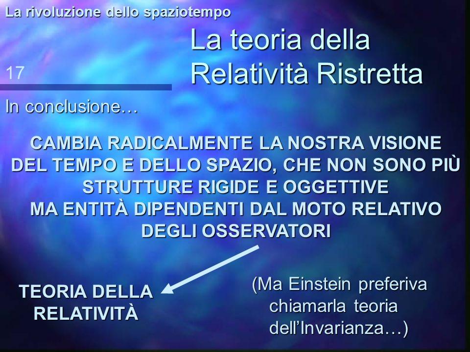 La teoria della Relatività Ristretta Ma… non ci sono solo lo spazio e il tempo! 16 La rivoluzione dello spaziotempo E = m c 2 Unicona del nostro tempo