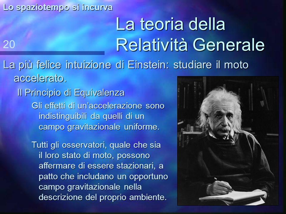 La teoria della Relatività Generale La più felice intuizione di Einstein: studiare il moto accelerato. 20 Lo spaziotempo si incurva