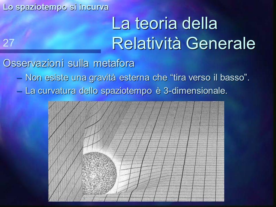 La teoria della Relatività Generale Conseguenza Si risolvono due problemi: n la n la trasmissione istantanea trasmissione a distanza 26 Lo spaziotempo