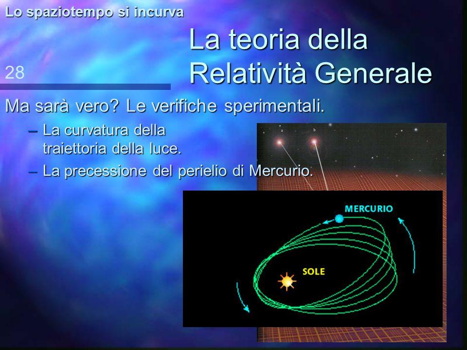 La teoria della Relatività Generale Osservazioni sulla metafora –Non –Non esiste una gravità esterna che tira verso il basso. –La –La curvatura dello