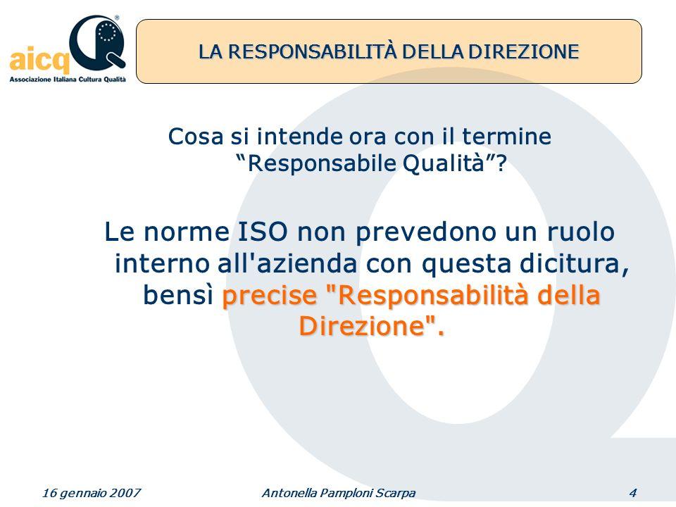 16 gennaio 2007Antonella Pamploni Scarpa4 LA RESPONSABILITÀ DELLA DIREZIONE Cosa si intende ora con il termine Responsabile Qualità.