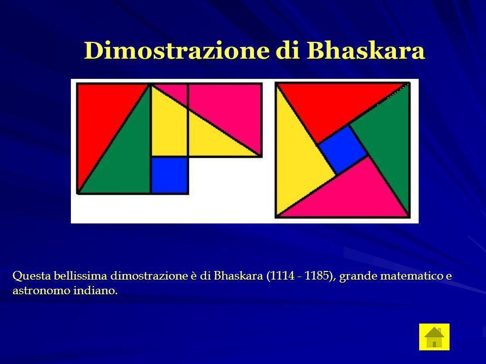 Dimostrazione di Bhaskara Questa bellissima dimostrazione è di Bhaskara (1114 - 1185), grande matematico e astronomo indiano.
