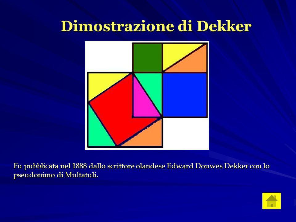 Dimostrazione di Dekker Fu pubblicata nel 1888 dallo scrittore olandese Edward Douwes Dekker con lo pseudonimo di Multatuli.