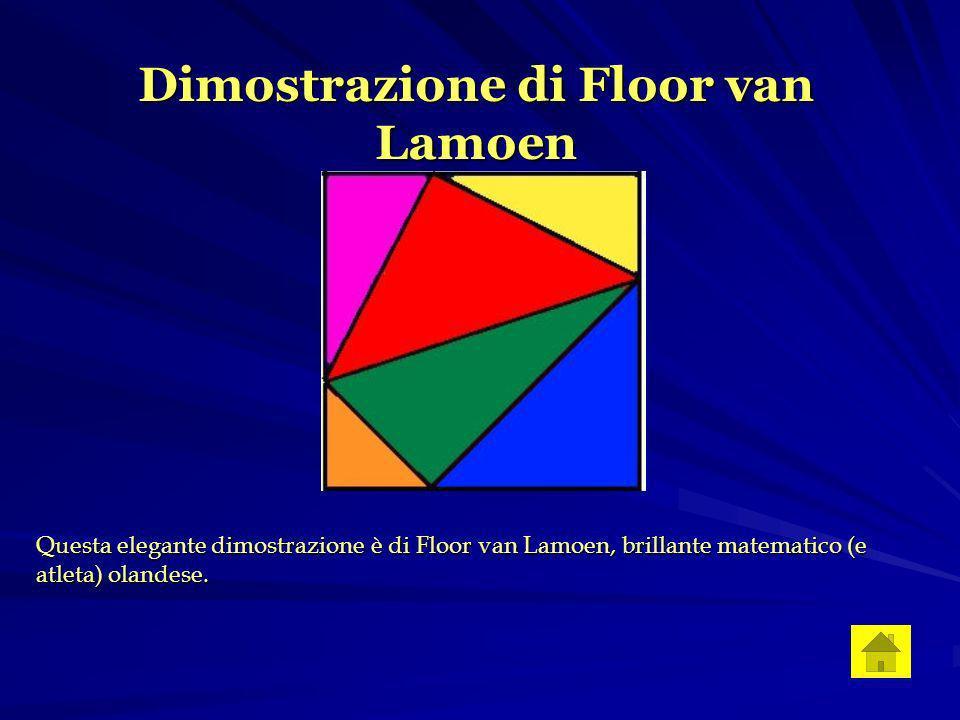 Dimostrazione di Floor van Lamoen Questa elegante dimostrazione è di Floor van Lamoen, brillante matematico (e atleta) olandese.