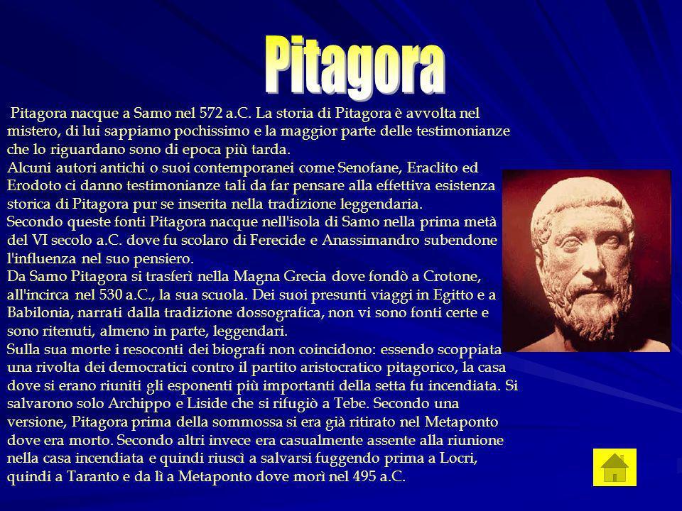 Pitagora nacque a Samo nel 572 a.C.