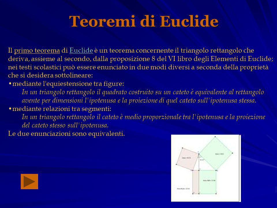 Teoremi di Euclide Il primo teorema di Euclide è un teorema concernente il triangolo rettangolo che deriva, assieme al secondo, dalla proposizione 8 del VI libro degli Elementi di Euclide; nei testi scolastici può essere enunciato in due modi diversi a seconda della proprietà che si desidera sottolineare: Euclide mediante l equiestensione tra figure:mediante l equiestensione tra figure: In un triangolo rettangolo il quadrato costruito su un cateto è equivalente al rettangolo avente per dimensioni l ipotenusa e la proiezione di quel cateto sull ipotenusa stessa.