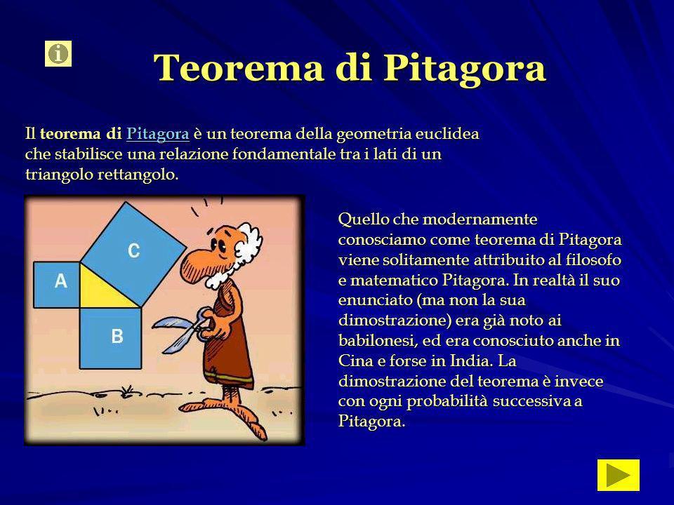Teorema di Pitagora Il teorema di Pitagora è un teorema della geometria euclidea che stabilisce una relazione fondamentale tra i lati di un triangolo rettangolo.