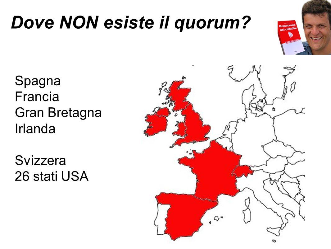 Dove NON esiste il quorum? Spagna Francia Gran Bretagna Irlanda Svizzera 26 stati USA