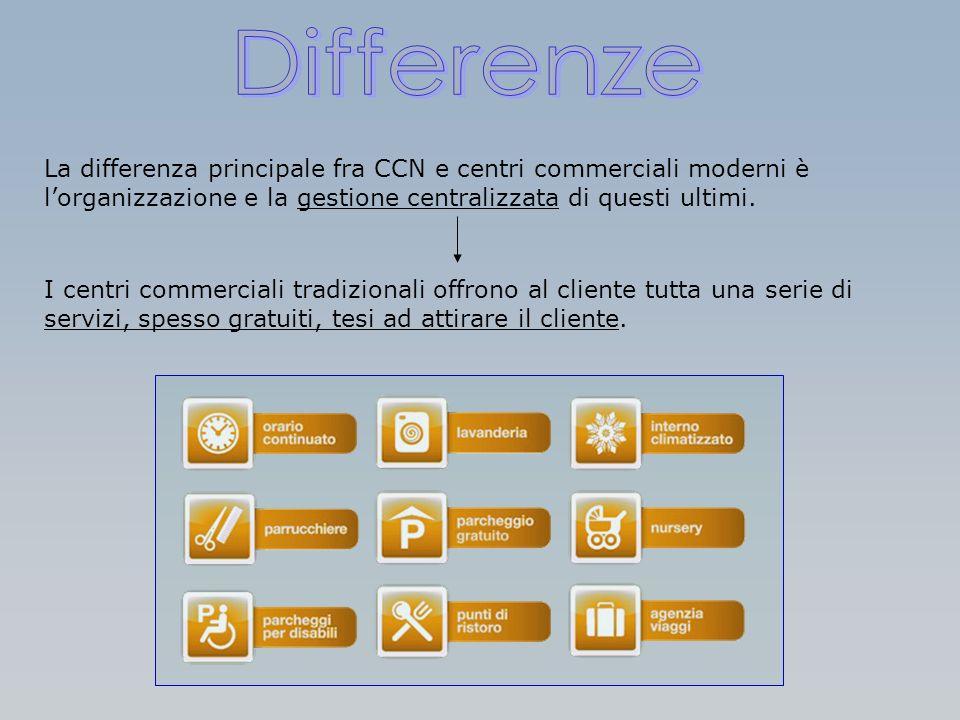 La differenza principale fra CCN e centri commerciali moderni è lorganizzazione e la gestione centralizzata di questi ultimi. I centri commerciali tra
