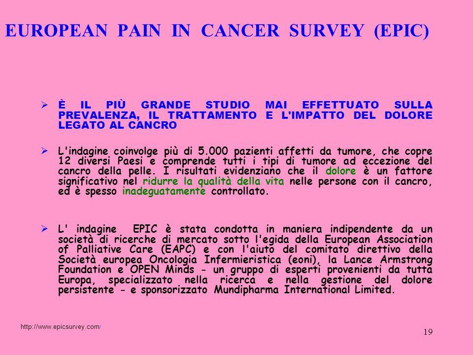 19 EUROPEAN PAIN IN CANCER SURVEY (EPIC) È IL PIÙ GRANDE STUDIO MAI EFFETTUATO SULLA PREVALENZA, IL TRATTAMENTO E L'IMPATTO DEL DOLORE LEGATO AL CANCR