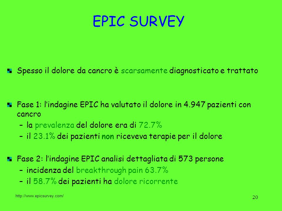 20 Spesso il dolore da cancro è scarsamente diagnosticato e trattato Fase 1: lindagine EPIC ha valutato il dolore in 4.947 pazienti con cancro –la pre
