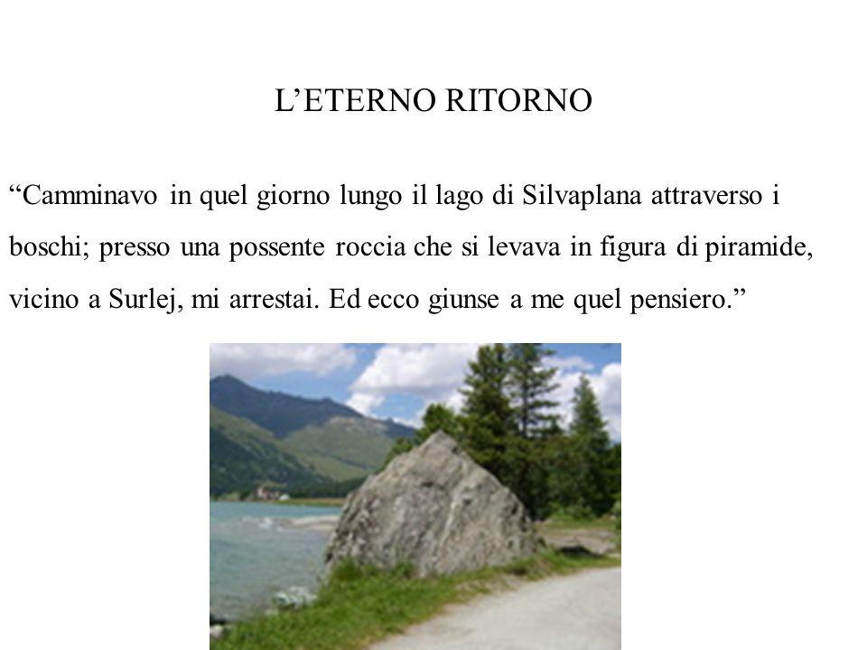 LETERNO RITORNO Camminavo in quel giorno lungo il lago di Silvaplana attraverso i boschi; presso una possente roccia che si levava in figura di piramide, vicino a Surlej, mi arrestai.