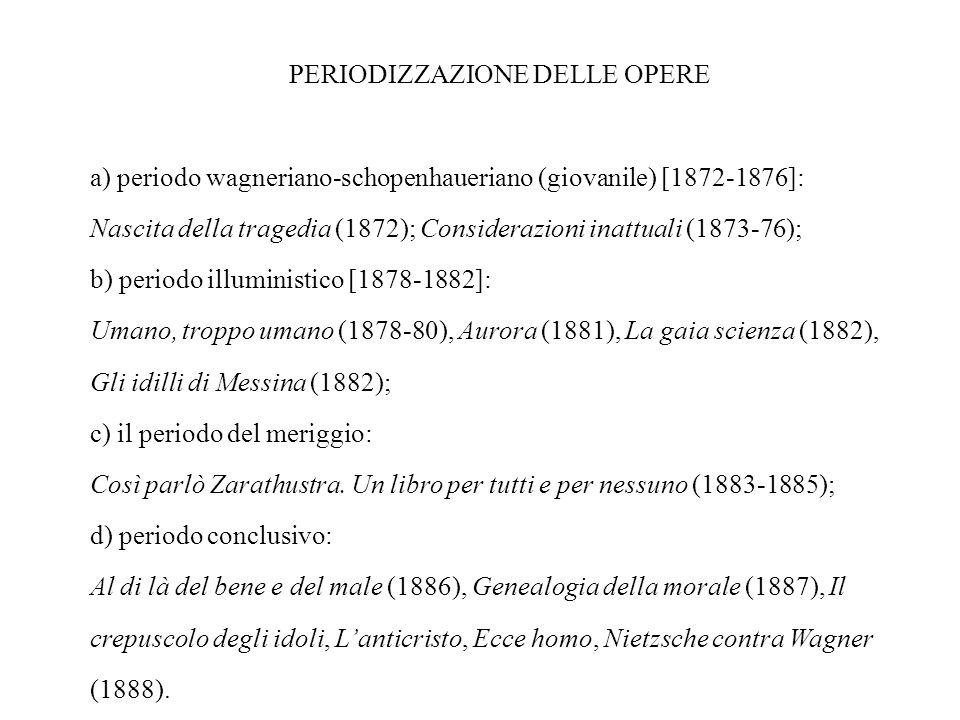 PERIODIZZAZIONE DELLE OPERE a) periodo wagneriano-schopenhaueriano (giovanile) [1872-1876]: Nascita della tragedia (1872); Considerazioni inattuali (1873-76); b) periodo illuministico [1878-1882]: Umano, troppo umano (1878-80), Aurora (1881), La gaia scienza (1882), Gli idilli di Messina (1882); c) il periodo del meriggio: Così parlò Zarathustra.