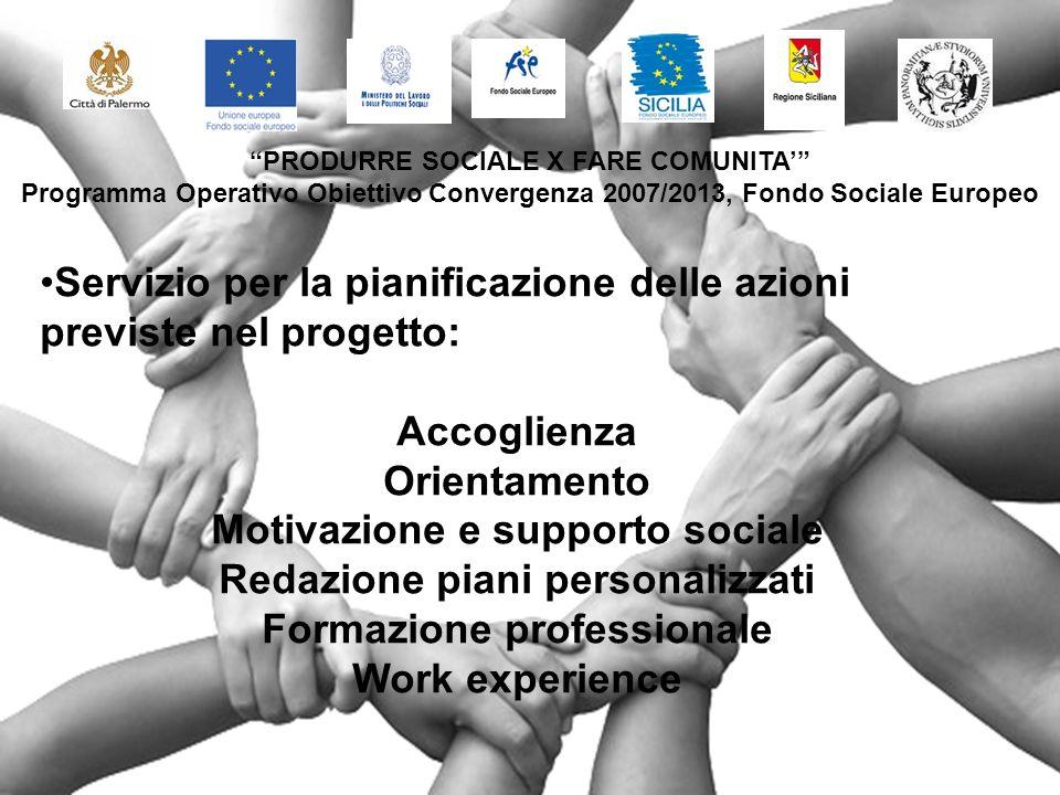 Servizio per la pianificazione delle azioni previste nel progetto: Accoglienza Orientamento Motivazione e supporto sociale Redazione piani personalizzati Formazione professionale Work experience PRODURRE SOCIALE X FARE COMUNITA Programma Operativo Obiettivo Convergenza 2007/2013, Fondo Sociale Europeo