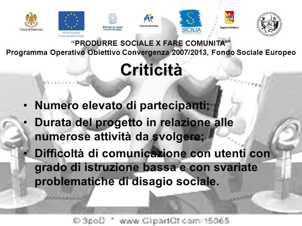 Criticità Numero elevato di partecipanti; Durata del progetto in relazione alle numerose attività da svolgere; Difficoltà di comunicazione con utenti con grado di istruzione bassa e con svariate problematiche di disagio sociale.