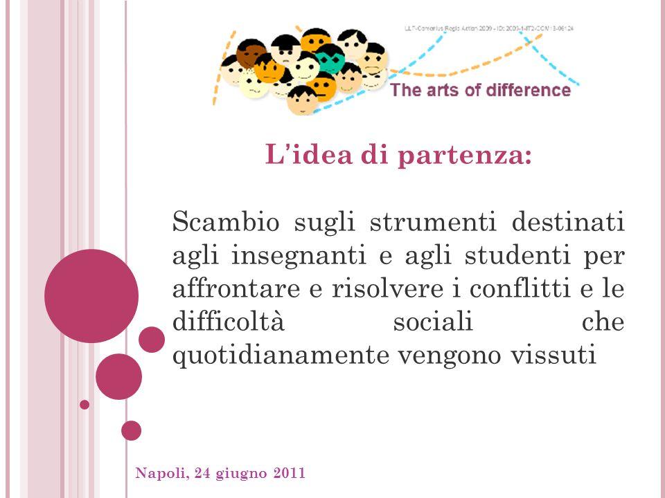 Napoli, 24 giugno 2011, Lidea di partenza: Scambio sugli strumenti destinati agli insegnanti e agli studenti per affrontare e risolvere i conflitti e le difficoltà sociali che quotidianamente vengono vissuti