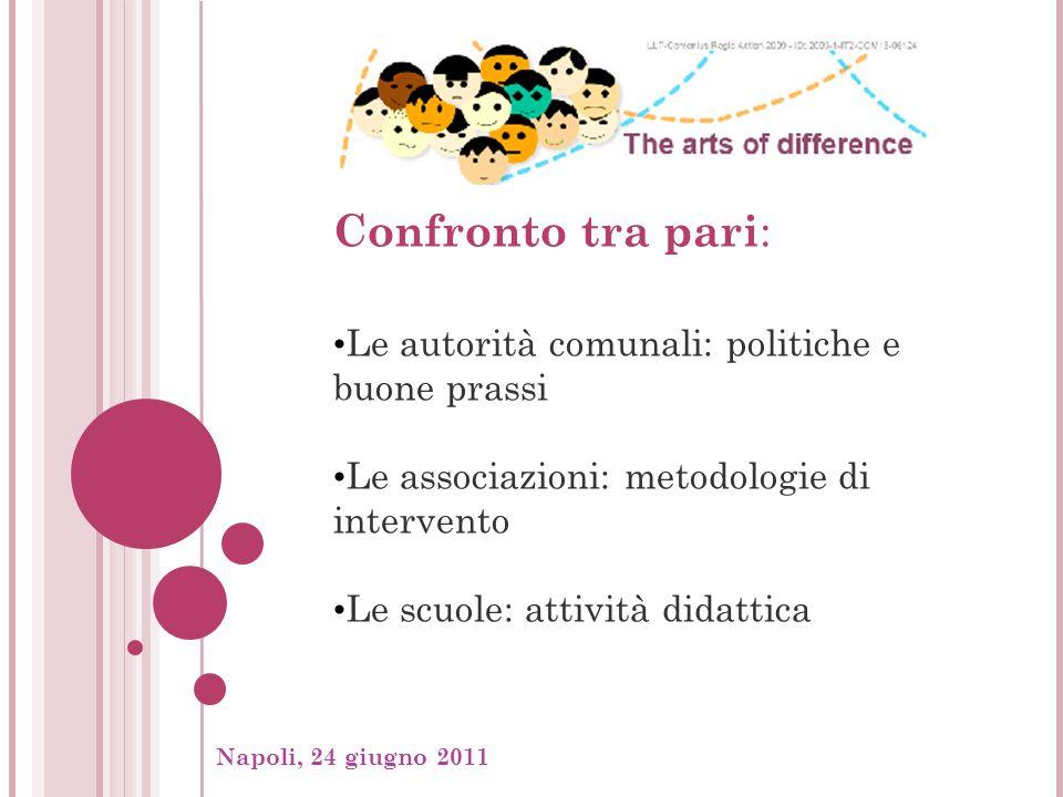 Napoli, 24 giugno 2011, Confronto tra pari : Le autorità comunali: politiche e buone prassi Le associazioni: metodologie di intervento Le scuole: attività didattica