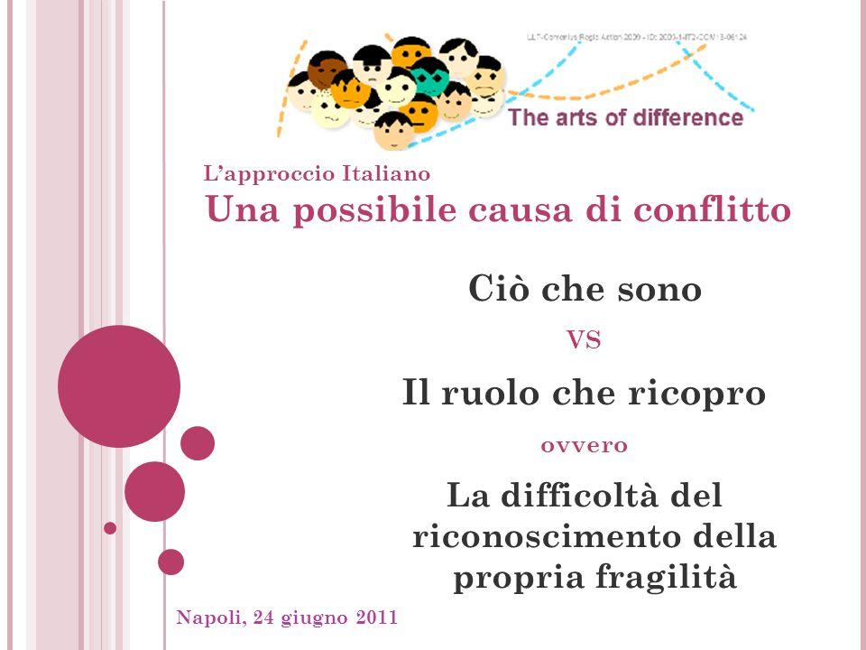 Napoli, 24 giugno 2011, Una strategia di soluzione 1 Lavorare in gruppo per accrescere la consapevolezza delle proprie fragilità, per imparare a riconoscere i propri pregiudizi, per riconoscere nellaltro un proprio pari, che ha in sé (come me) paure che nascono dalle sue supposte debolezze, dai suoi pregiudizi.