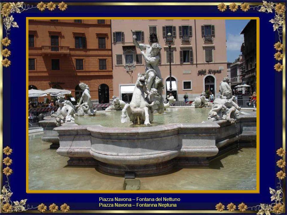 Piazza Navona, la Fontana dei Quattro Fiumi, eretta nel 1651 da Bernini al centro della piazza. Piazza Navona, Fontanna Czterech Rzek Berniniego zbudo