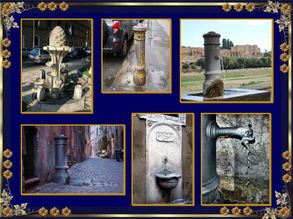 Nasone Acqua Marcia al Campidoglio.Fontanna z bezpłatną wodą pitną Acqua Marcia al Campidoglio