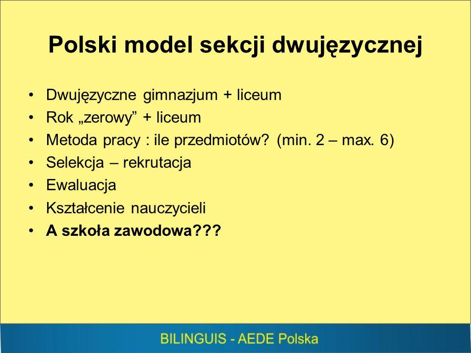 Polski model sekcji dwujęzycznej Dwujęzyczne gimnazjum + liceum Rok zerowy + liceum Metoda pracy : ile przedmiotów.