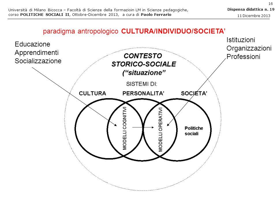 Università di Milano Bicocca – Facoltà di Scienze della formazioin LM in Scienze pedagogiche, corso POLITICHE SOCIALI II, Ottobre-Dicembre 2013, a cur