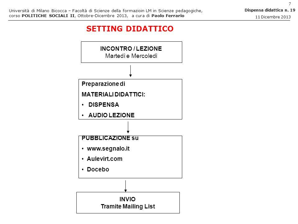 Università di Milano Bicocca – Facoltà di Scienze della formazioin LM in Scienze pedagogiche, corso POLITICHE SOCIALI II, Ottobre-Dicembre 2013, a cura di Paolo Ferrario 28 Dispensa didattica n.