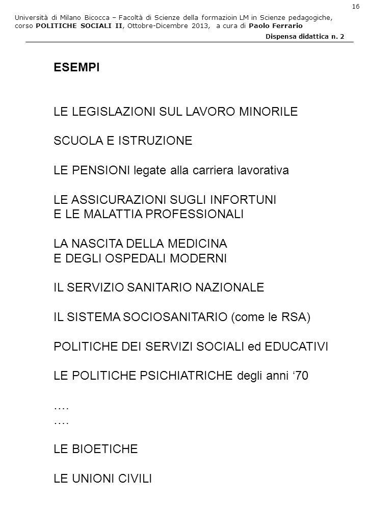 Università di Milano Bicocca – Facoltà di Scienze della formazioin LM in Scienze pedagogiche, corso POLITICHE SOCIALI II, Ottobre-Dicembre 2013, a cura di Paolo Ferrario 16 Dispensa didattica n.