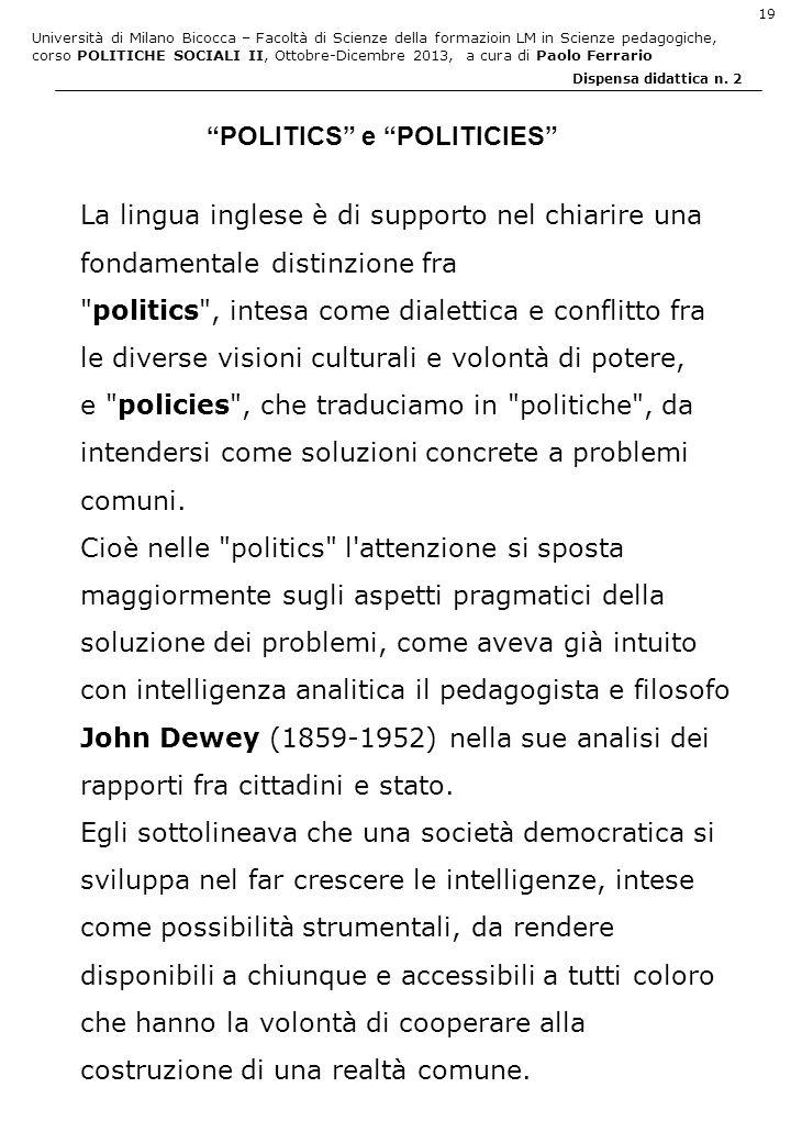 Università di Milano Bicocca – Facoltà di Scienze della formazioin LM in Scienze pedagogiche, corso POLITICHE SOCIALI II, Ottobre-Dicembre 2013, a cura di Paolo Ferrario 19 Dispensa didattica n.