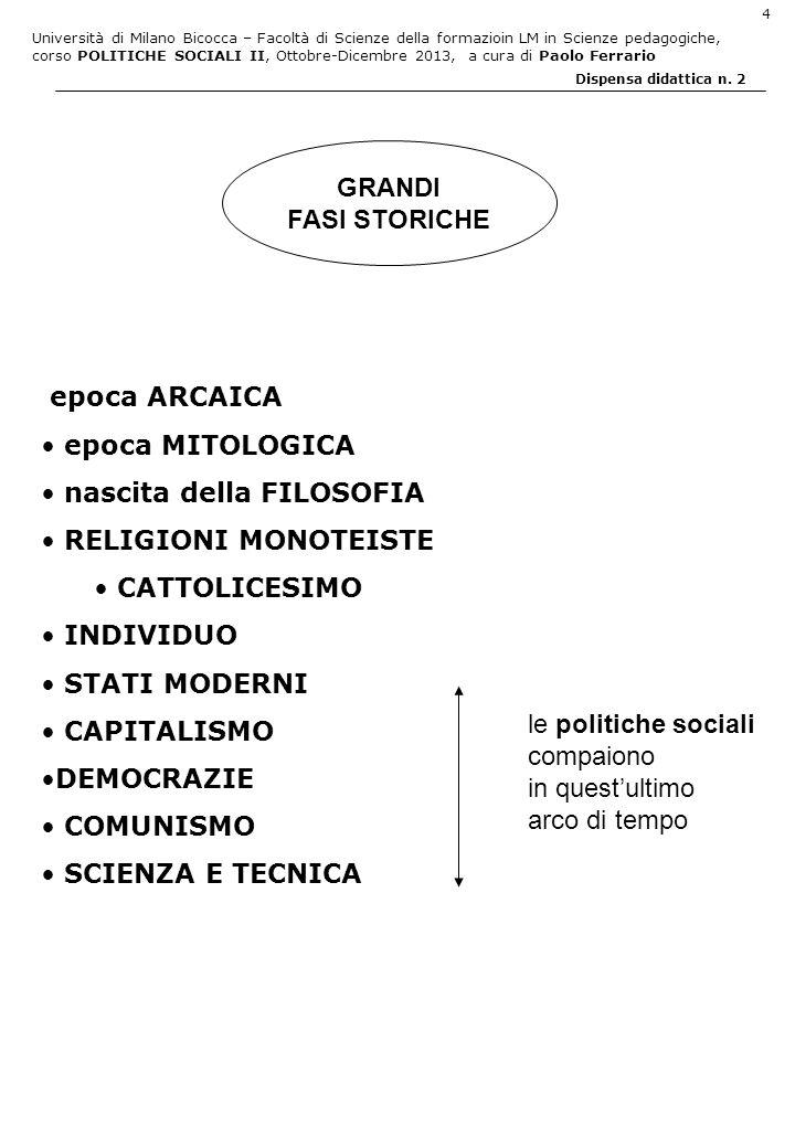 Università di Milano Bicocca – Facoltà di Scienze della formazioin LM in Scienze pedagogiche, corso POLITICHE SOCIALI II, Ottobre-Dicembre 2013, a cura di Paolo Ferrario 5 Dispensa didattica n.