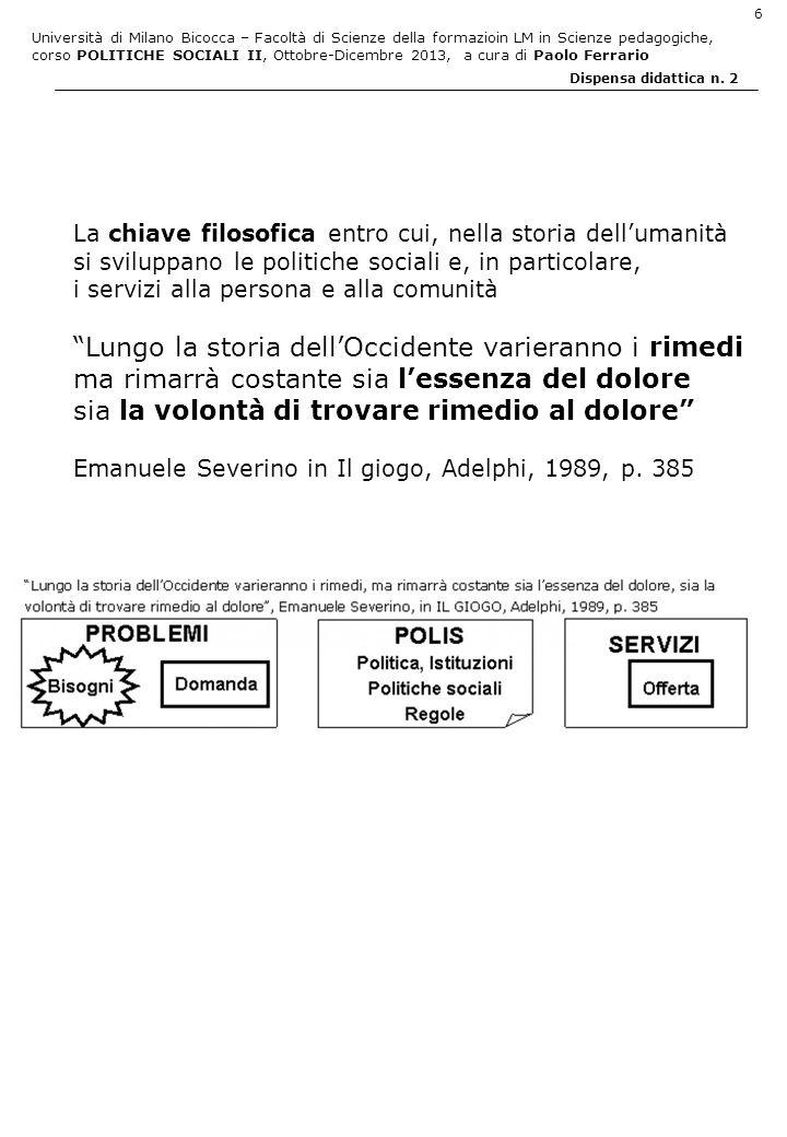 Università di Milano Bicocca – Facoltà di Scienze della formazioin LM in Scienze pedagogiche, corso POLITICHE SOCIALI II, Ottobre-Dicembre 2013, a cura di Paolo Ferrario 6 Dispensa didattica n.