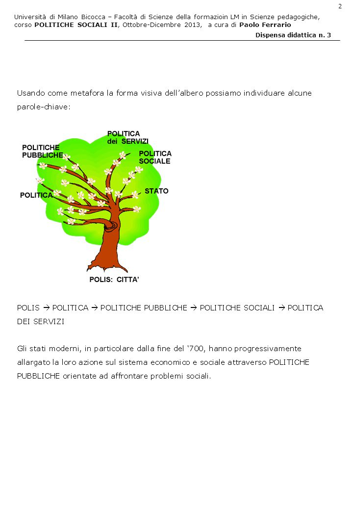 Università di Milano Bicocca – Facoltà di Scienze della formazioin LM in Scienze pedagogiche, corso POLITICHE SOCIALI II, Ottobre-Dicembre 2013, a cura di Paolo Ferrario 3 Dispensa didattica n.